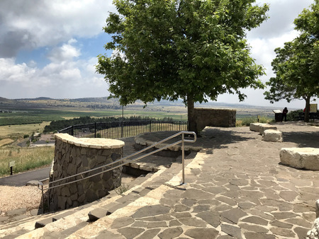 GOLAN HEIGHTS, ISRAEL - MAY 14 2018: Volcanic Park. A dormant geological volcanic site in the Golan Heights, not far from Israel's border with Syria. Editorial
