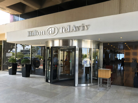 TEL AVIV, ISRAEL - MAY 15, 2018: The Hilton Hotel. Situated in Independence Park, the Hilton Tel Aviv offers easy access to the Mediterranean Sea.