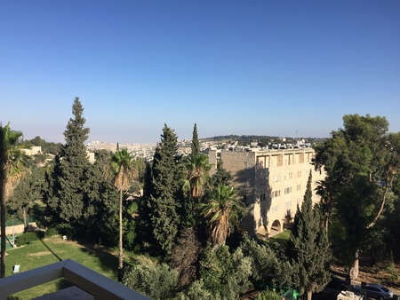 JERUSALEM - JUNE 9, 2018: View from the King David Hotel. The luxury hotel offers incomparable views of the Old City walls, minarets and domes.