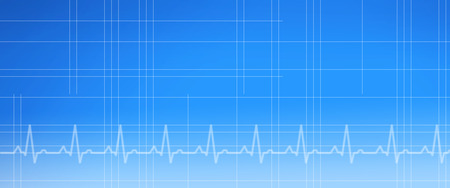 A blue gradient background in banner format with a grid and EKG graph.
