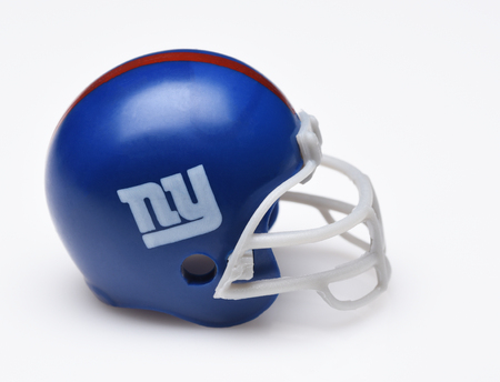 IRVINE, CALIFORNIA - SEPTEMBER 5, 2018: Mini Collectable Football Helmet for the New York Giants of the National Football Conference East. Redakční