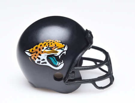 IRVINE, CALIFORNIA - AUGUST 30, 2018: Mini Collectable Football Helmet for the Jacksonville Jaguars of the American Football Conference South.