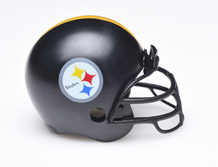 IRVINE, CALIFORNIA - AUGUST 30, 2018: Mini Collectable Football Helmet for the Pittsburgh Steelers of the American Football Conference North. Redakční