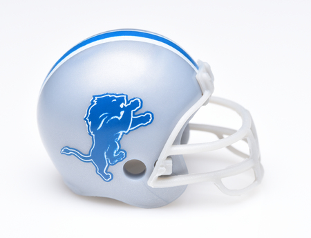 IRVINE, CALIFORNIA - AUGUST 30, 2018: Mini Collectable Football Helmet for the Detroit Lions of the National Football Conference North. Editorial
