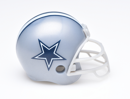 IRVINE, CALIFORNIA - AUGUST 30, 2018: Mini Collectable Football Helmet for the Dallas Cowboys of the National Football Conference East. Editorial