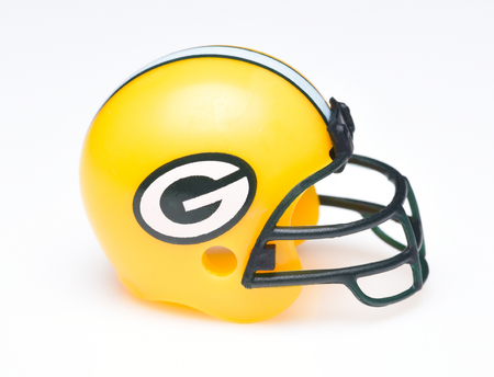 IRVINE, CALIFORNIA - AUGUST 30, 2018: Mini Collectable Football Helmet for the Green Bay Packers of the National Football Conference North.