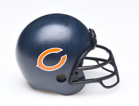IRVINE, CALIFORNIA - AUGUST 30, 2018: Mini Collectable Football Helmet for the Chicago Bears of the National Football Conference North.