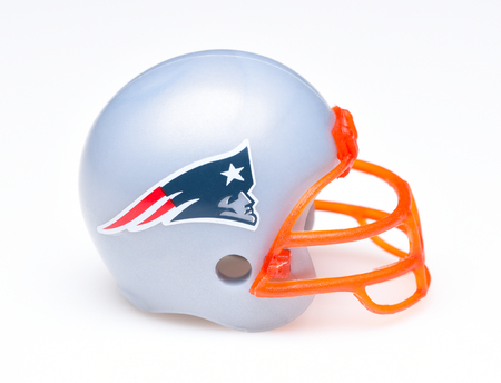 IRVINE, CALIFORNIA - AUGUST 30, 2018: Mini Collectable Football Helmet for the New England Patriots of the American Football Conference East. Editorial