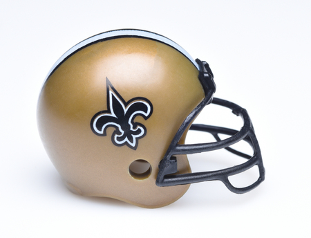 IRVINE, CALIFORNIA - AUGUST 30, 2018: Mini Collectable Football Helmet for the New Orleans Saints of the National Football Conference South. Sajtókép