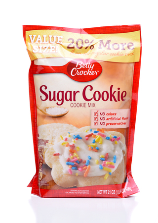 IRVINE, CALIFORNIA - DEC 4, 2018: Betty Crocker Sugar Cookie Mix. The package contains most of the ingerdients to make the popular snack food.