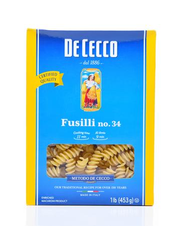 IRVINE, CALIFORNIA - DEC 4, 2018: A box of De Cecco Fusilli Pasta. De Cecco is an Italian company producing dried pasta, flour and other related food products.