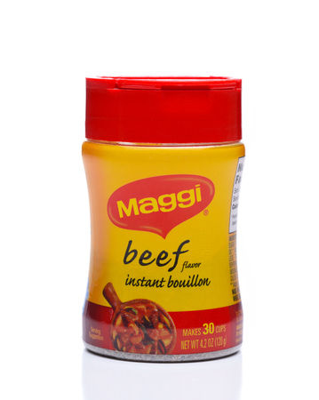IRVINE, CALIFORNIA - DEC 4, 2018:  A Jar of Maggi Beef Flavor Bouillon is use to add flavor to stews, vegetables and other dishes.