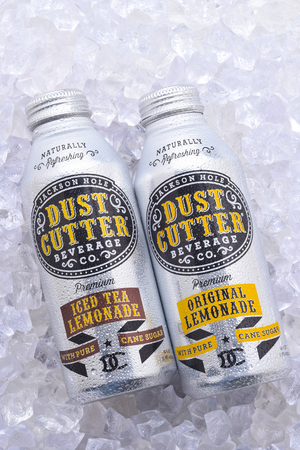 IRVINE, CALIFORNIA - DEC 10, 2018: Cans of Dust Cutter Lemonade and Iced Tea Lemonade on a bed of ice. In Alumi-Tek cans with resealable top, based in Jackson Hole, Wyoming.