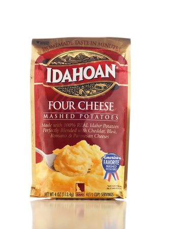 IRVINE, CALIFORNIA - DEC 28, 2018: A package of Idahoan Mashed Potatoes. The Dehydrated Process was developed in Lewisville, Idaho. Editorial