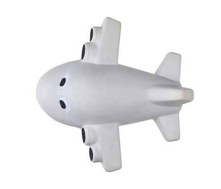 Top view of a toy jet  airplane caricature isolated on white. Planes apperance has been altered from original.