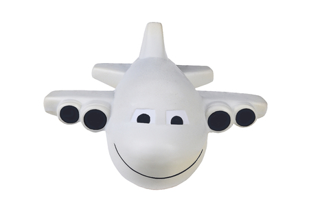 Front view of a toy jet  airplane caricature isolated on white. Planes apperance has been altered from original.