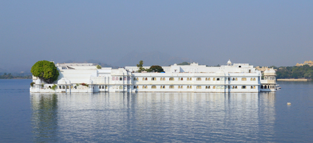 UDAIPUR, INDIA - November 5, 2015: Taj Lake Palace Hotel. One of the most recognizable residences in the world, was featured in the films, Octopussy and The Jewel in The Crown.