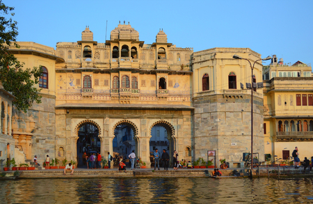 UDAIPUR, INDIA - November 4, 2015: The old city seen from the Lake Pichola. Editorial