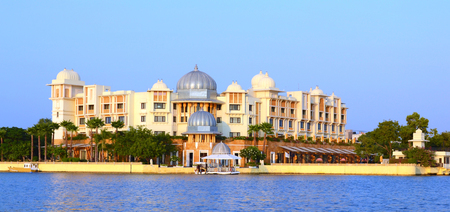UDAIPUR, INDIA - November 4, 2015: Leela Palace from Lake Pichola, Udaipur, Rajasthan, India