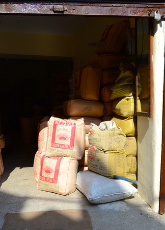 AMRITSAR, INDIA - 30 OCTOBER 2015: Bales of Tea inside a storage shed.