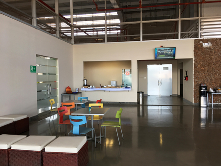 BALTRA, ECUADOR - FEBRUARY 16, 2017: Arrival Lounge in the Seymour Airport on the island of Baltra in the Galapagos.