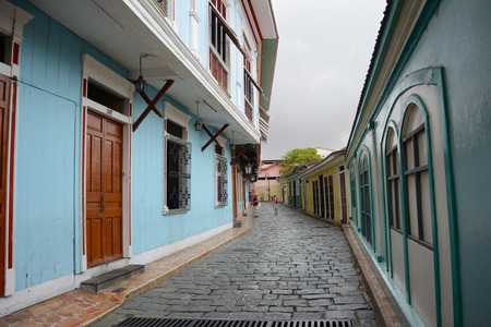 GUAYAQUIL, ECUADOR - FEBRUARY 15, 2017: Alley in the Cerro Santa Ana district of Guyaquil.
