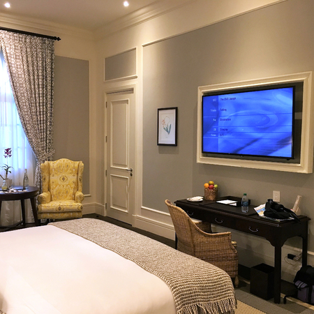 GUAYAQUIL, ECUADOR - FEBRUARY 15, 2017: Hotel del Parque guestroom. A beautiful and lovingly restored 19th century property, nestled into a tropical oasis in the heart of the city.
