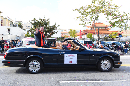 LOS ANGELES - FEBRUARY 9, 2019: Ping Zhang The Consul General China at the Los Angeles Chinese New Year Parade.