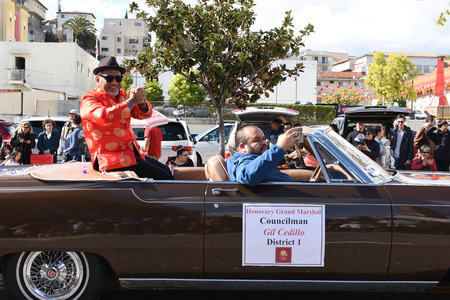 LOS ANGELES - FEBRUARY 9, 2019: Councilman Gil Cedillo rides in the Los Angeles Chinese New Year Parade. Editorial