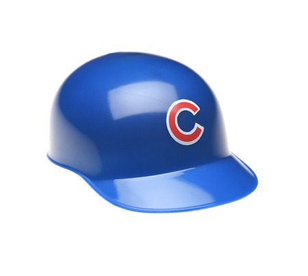 IRVINE, CALIFORNIA - FEBRUARY 27, 2019:  Closeup of a mini collectable batters helmet for the Chicago Cubs of Major League Baseball. Editorial