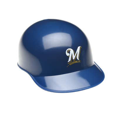 IRVINE, CALIFORNIA - FEBRUARY 27, 2019: Closeup of a mini collectable batters helmet for the Milwaukee Brewers of Major League Baseball.