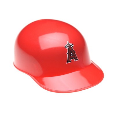 IRVINE, CALIFORNIA - FEBRUARY 27, 2019:  Closeup of a mini collectable batters helmet for the Los Angeles Angels of Anaheim of Major League Baseball. Editorial