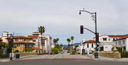SANTA BARBARA, CALIFORNIA - APRIL 11, 2019: State Street seen from the start of Stearns Wharf