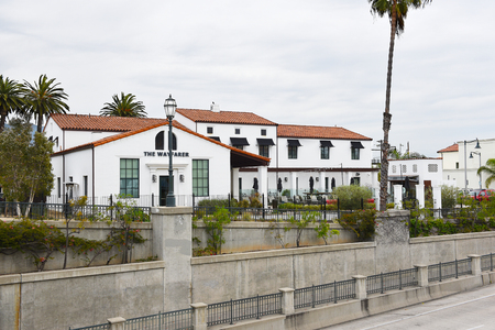 SANTA BARBARA, CALIFORNIA - APRIL 11, 2019: The Wayfarer Hotel features 27 boutique hotel rooms and 4 shared hostel rooms, in the Funk Zone.