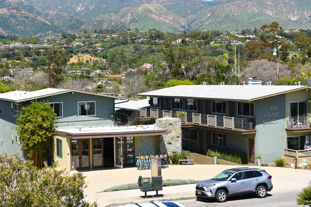 SANTA BARBARA, CALIFORNIA - APRIL 11, 2019: The Inn At East Beach. A block from East Beach, this unassuming low-rise hotel is a 4-minute walk from the Santa Barbara Zoo.