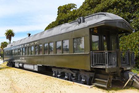SANTA BARBARA, CALIFORNIA - APRIL 11, 2019: Antique Southern Pacific Rail Car at the Train Station in Santa Barbara.
