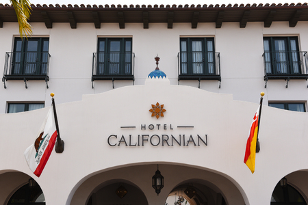 SANTA BARBARA, CALIFORNIA - APRIL 11, 2019: The Hotel Californian features luxurious rooms and panoramic views of the coastline and the Santa Ynez Mountains.