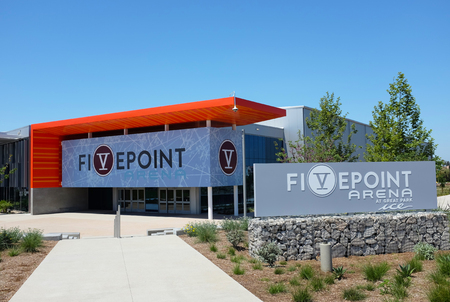 IRVINE, CALIFORNIA - APRIL 25, 2019: Great Park Ice and FivePoint Arena, a $110-million facility by the NHLs Anaheim Ducks, provides training space and community skating facility.