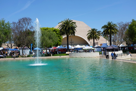 ALISO VIEJO, CALIFORNIA, MAY 4, 2019: Peace Lake Fountain and Recreation Center during the 18th International Festival.
