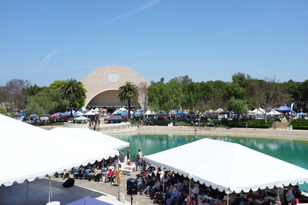 ALISO VIEJO, CALIFORNIA, MAY 4, 2019: Soka University Peace-Lake and Recreation Center seen from Founders Hall during the International Festival.
