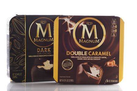 IRVINE, CALIFORNIA - MAY 6, 2019: Two boxes of Magnum Dark Chocolate and Double Caramel Ice Cream Bars. Launched in Sweden in 1989 as an upscale ice cream owned by Unilever.