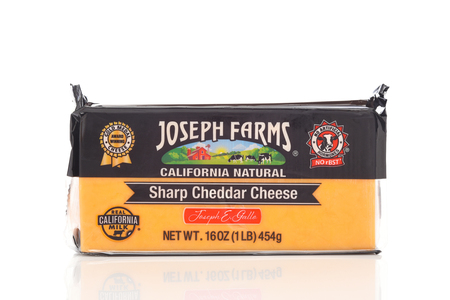 IRVINE, CALIFORNIA - MAY 20, 2019: A 16 ounce package of Joseph Farms California Natural Sharp Cheddar Cheese.
