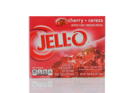IRVINE, CALIFORNIA - MAY 22, 2019:   A box of Jell-O Cherry flavored gelatin. Editorial