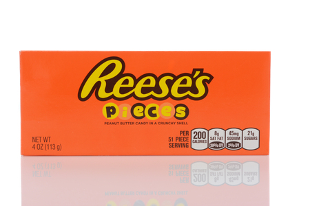 IRVINE, CALIFORNIA - MAY 22, 2019: A box of Reeses Pieces peanut butter and chocolate candy.