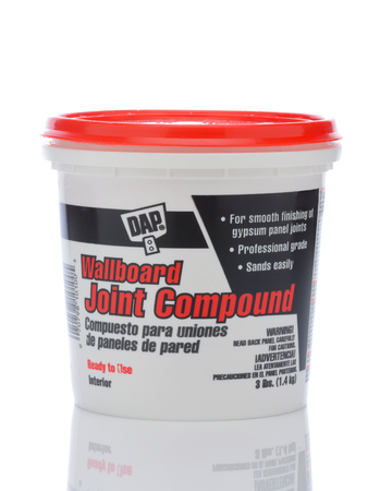 IRVINE, CALIFORNIA - MAY 22, 2019:  A plastic bucket of DAP Wallboard Joint Compound.