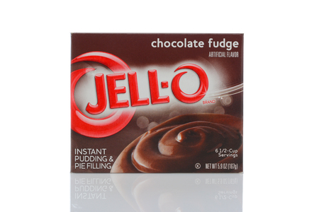 IRVINE, CALIFORNIA - MAY 22, 2019:  A box of Jell-O Chocolate Fudge Pudding dessert.