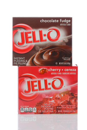 IRVINE, CALIFORNIA - MAY 22, 2019:  A box of Jell-O Cherry Flavored Gelatin and Chocolate Pudding.