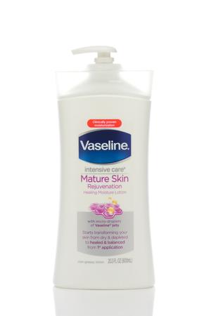 IRVINE, CALIFORNIA - MAY 22, 2019:  A bottle of Vaseline Intensive Care Mature Skin Rejuvenation Lotion.