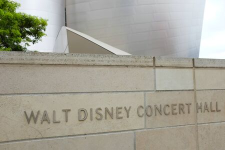 LOS ANGELES, SEPT 2, 2018:  Sign on the Walt Disney Concert Hall, the home of the LA Philharmonic orchestra and the LA Master Chorale. Stock Photo - 128138299