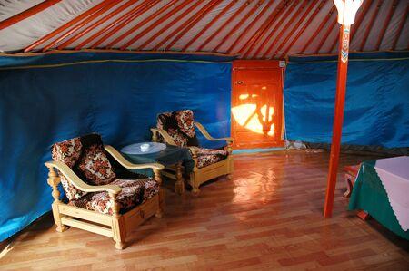 GOBI DESERT, MONGOLIA - June 30, 2006: Ger interior at the Tovshin Camp nestled below the stunning scenery of the Gobi Gurvansaikhan Mountains in Southern Gobi.